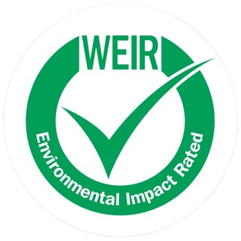 W.E.I.R. Impact on the environment green tick